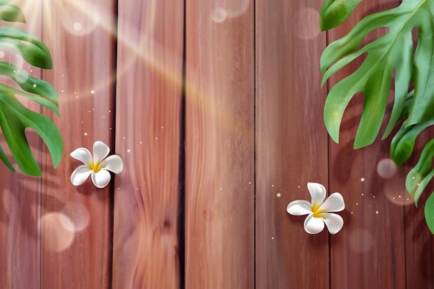 Tropische pflanzen und plumeria, die auf der hölzernen planke in der 3d illustration liegen