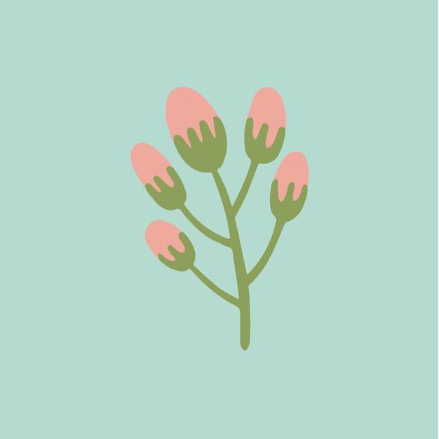 Tropische rosa blumen symbol social media post floral vector illustration