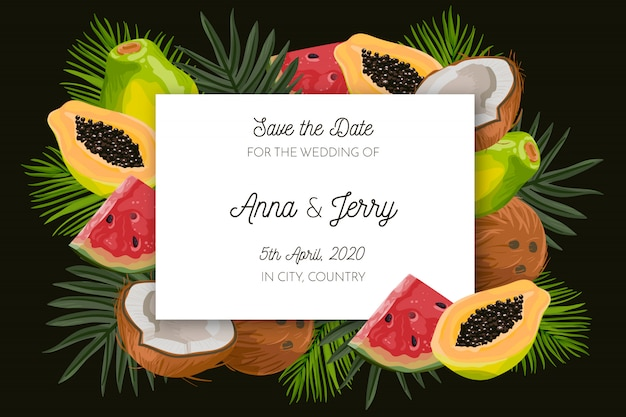 Tropische save the date karte