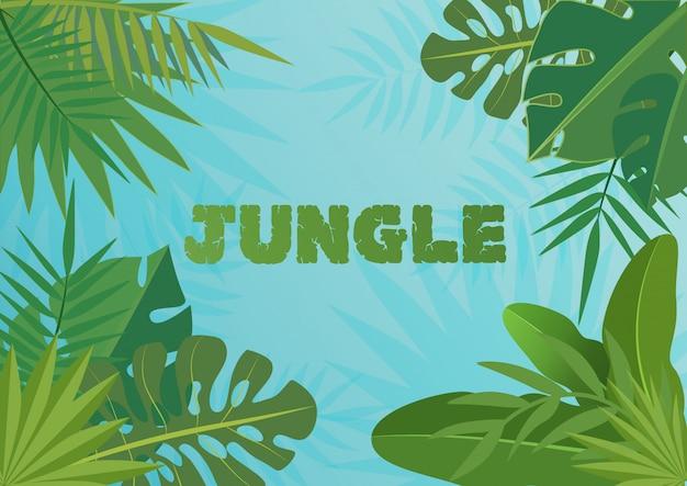 Tropische schablonenfahne illustration. exotische pflanzen auf blauem himmelhintergrund, regenwalddesign mit tropischen blättern.