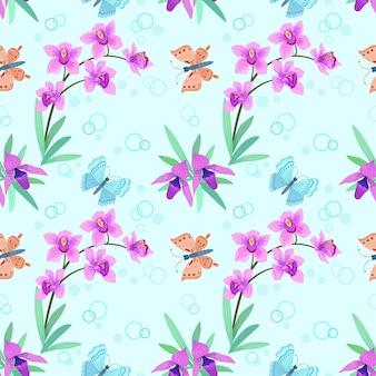 Tropische schmetterlinge und rosa orchideen. nahtloses muster.