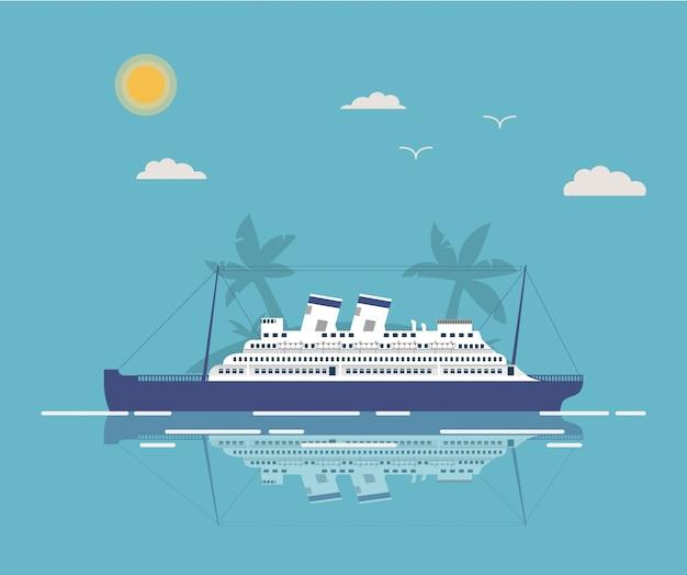 Tropische seereise der sommerlandschaft auf dem ozeankreuzfahrtschiff.