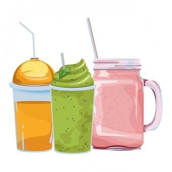 Tropische smoothiegetränk-ikonenkarikatur