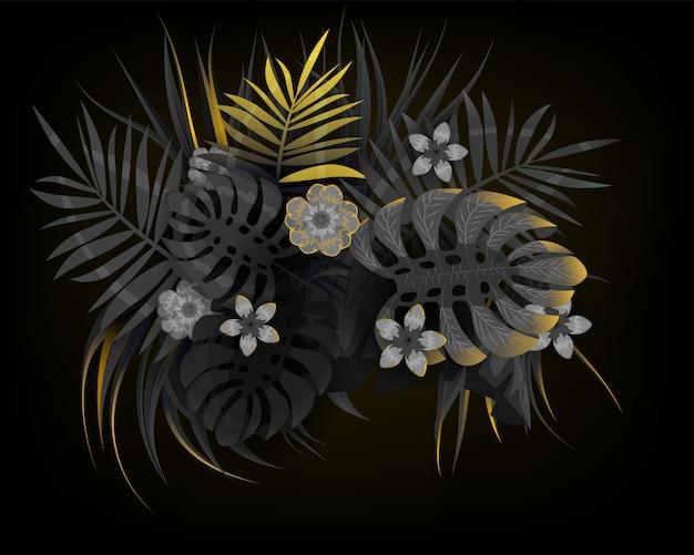 Tropische sommerblätter mit exotischen pflanzen der schwarzen und goldenen palmen dschungelblatt. trendfarben auf dunklem hintergrundschablonenbanner