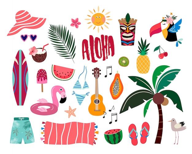 Tropische sommerelemente, hand gezeichnete sammlung mit den verschiedenen einzelteilen lokalisiert