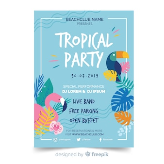Tropische sommerfest-flyer-vorlage