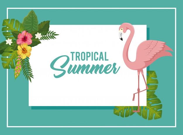 Tropische sommerillustration mit flamingo und blumen