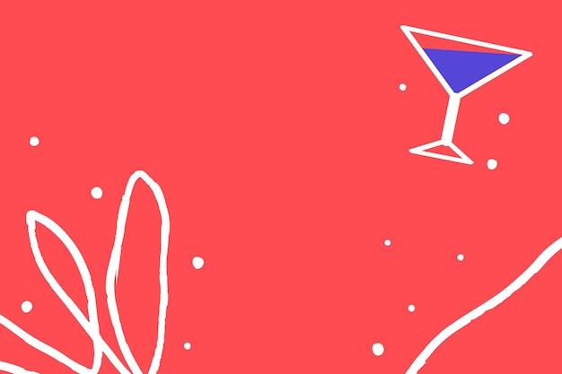 Tropische sommerstrandparty mit cocktailhintergrund-designressource