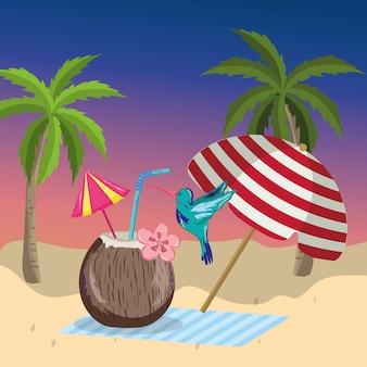 Tropische strand landschaft thema cartoon