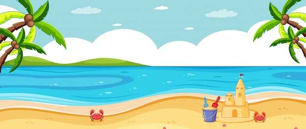 Tropische strandlandschaft des leeren hintergrunds