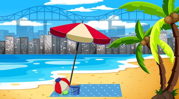 Tropische strandlandschaftsszene mit stadtbildhintergrund