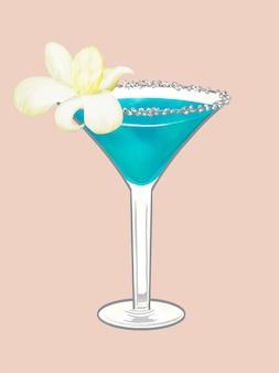 Tropische strandparty-cocktailillustration