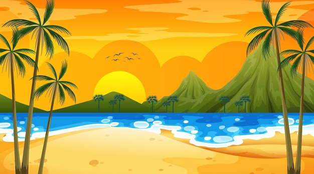 Tropische strandszene mit berg zur sonnenuntergangszeit