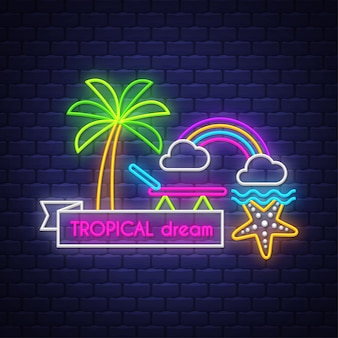 Tropische träume. leuchtreklame schriftzug