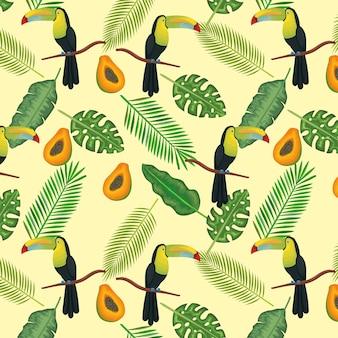 Tropische und exotische blumen mit tukan und papaya