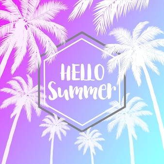 Tropische vibrierende hintergründe des sommers mit palmen