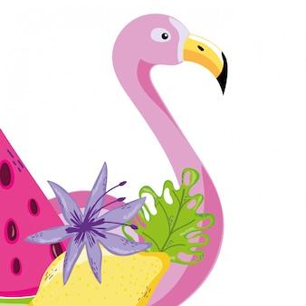 Tropische vogelflamingokarikatur