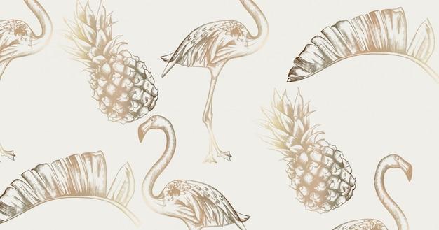 Tropische weinlesekarte mit flamingo und ananas. glänzende beschaffenheiten des retro- exotischen paradieses