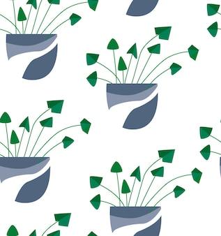 Tropische zimmerpflanze des exotischen nahtlosen musters in einem blumentopf. flache bunte vektorillustration.