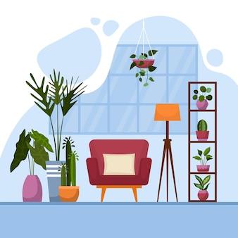 Tropische zimmerpflanze grün dekorative pflanze innenhaus illustration