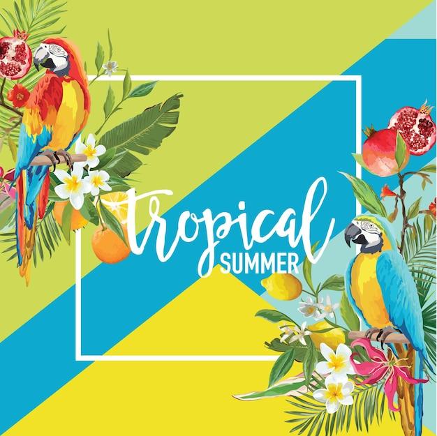 Tropische zitrone, granatapfelfrüchte, blumen und papageienvögel sommerbanner, grafischer hintergrund, exotische blumeneinladung, flyer oder karte. moderne startseite