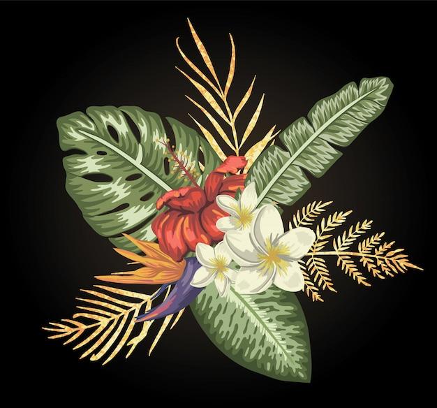 Tropische zusammensetzung von hibiskus-, plumeria- und strelitzia-blüten mit isolierten goldenen strukturierten blättern. helle realistische exotische designelemente im aquarellstil.
