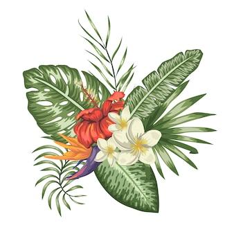 Tropische zusammensetzung von rotem hibiskus, weißer plumeria, monstera und palmblättern isoliert. helle realistische exotische designelemente im aquarellstil.