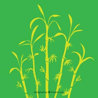 Tropischen bambus baum silhouetten