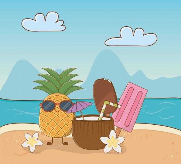 Tropischer ananascharakter auf der strandszene