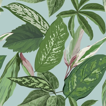 Tropischer blätter-hintergrund, nahtloses botanisches blumenmuster für abdeckungs-, textil- und gewebedruck in der vektorillustration