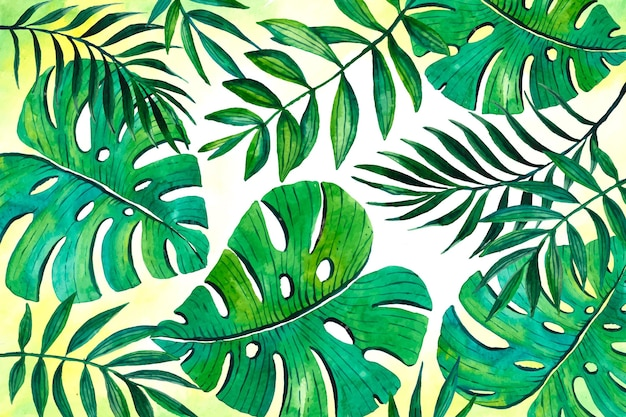 Tropischer blätterhintergrund für zoom