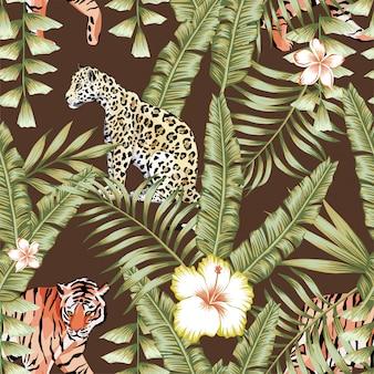 Tropischer blattmuster-tigerpanther-braunhintergrund