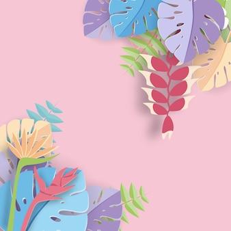 Tropischer blattpapierkunst-grafik hintergrund