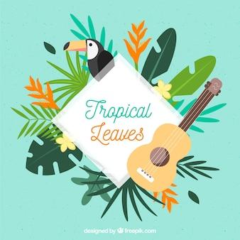 Tropischer blattrahmen mit tukan und gitarre
