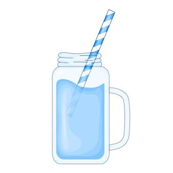 Tropischer blauer cocktail im niedlichen cartoon-stil. strandparty. vektorillustration lokalisiert auf weißem backgro.