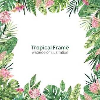 Tropischer blumenrahmen im aquarellstil. hellgrüner tropischer rahmen
