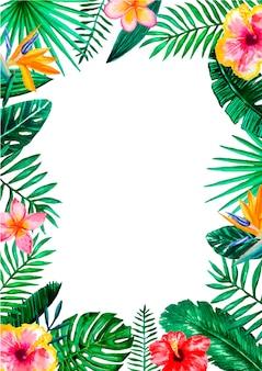 Tropischer blumenrandrahmen des aquarells