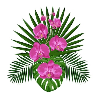 Tropischer blumenstrauß mit orchideenblüten und blättern tropische blumenkomposition exotischer textildruck