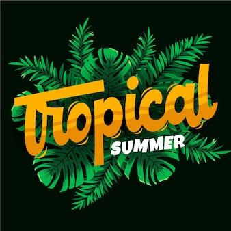 Tropischer design-schriftzug mit blättern