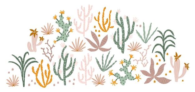 Tropischer dschungel stellt illustrationen von pflanzenkakteen-sukkulenten in einem einfachen handgezeichneten cartoon ein