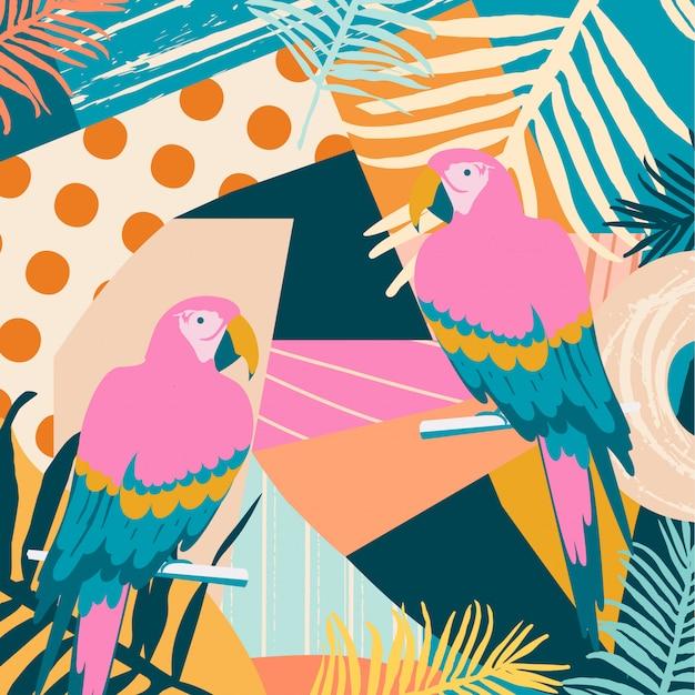 Tropischer dschungel verlässt hintergrund mit papageien