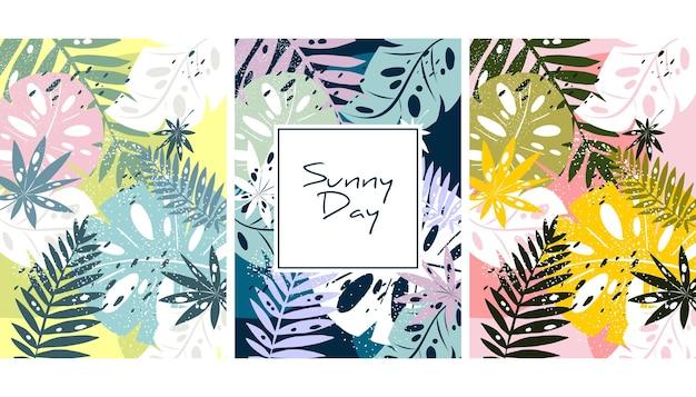 Tropischer dschungel verlässt muster. bunte handgezeichnete tropische plakatgestaltung. exotischer blätter-kunstdruck. kreativer botanischer hintergrund, tapete, stoffvektor, illustrationsdesign
