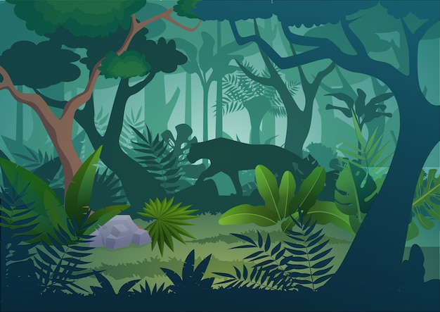 Tropischer dschungelregenwaldhintergrund des cartoons mit gehendem jaguartiger