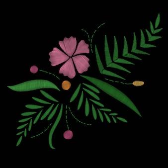 Tropischer exotischer blühender blumenstrauß der hawaii-blumenstickerei