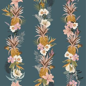 Tropischer exotischer wald des schönen bunten weinlesesommers mit blühenden sommerblumen