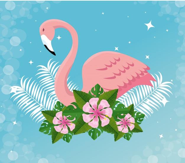 Tropischer flämisch mit blüten und exotischen blättern