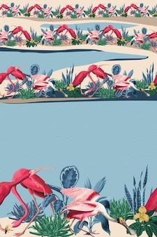 Tropischer flamingo-grenzvektorrahmen blauer hintergrund