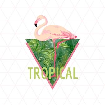 Tropischer flamingo-vogel-hintergrund. sommer-design.. t-shirt mode-grafik. exotisch.
