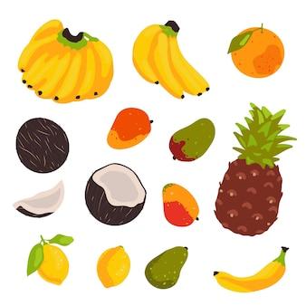 Tropischer fruchtsatz lokalisiert auf weißem hintergrund. vektorillustration im flachen stil.