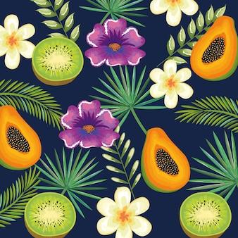 Tropischer garten mit kiwi und papaya